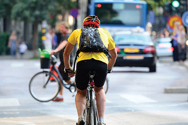 Cyclist cycling on the road