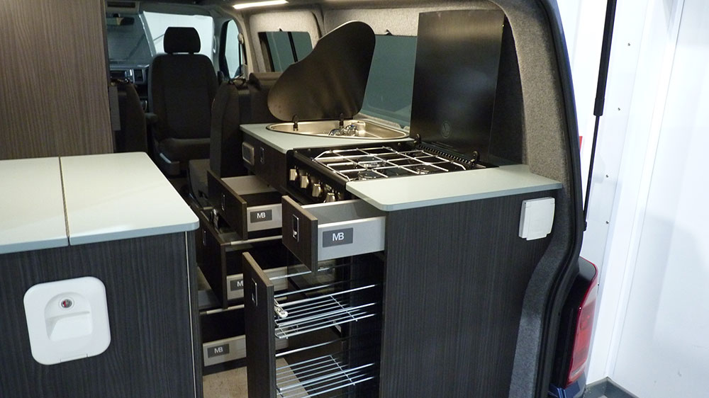VW T6 LWB Interior - Soft Close Drawers/Cabinets