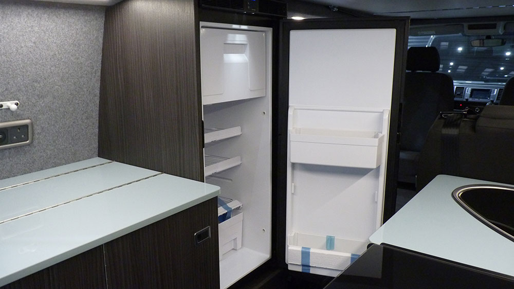 VW T6 LWB Kitchen Interior – Fridge and Work Surface