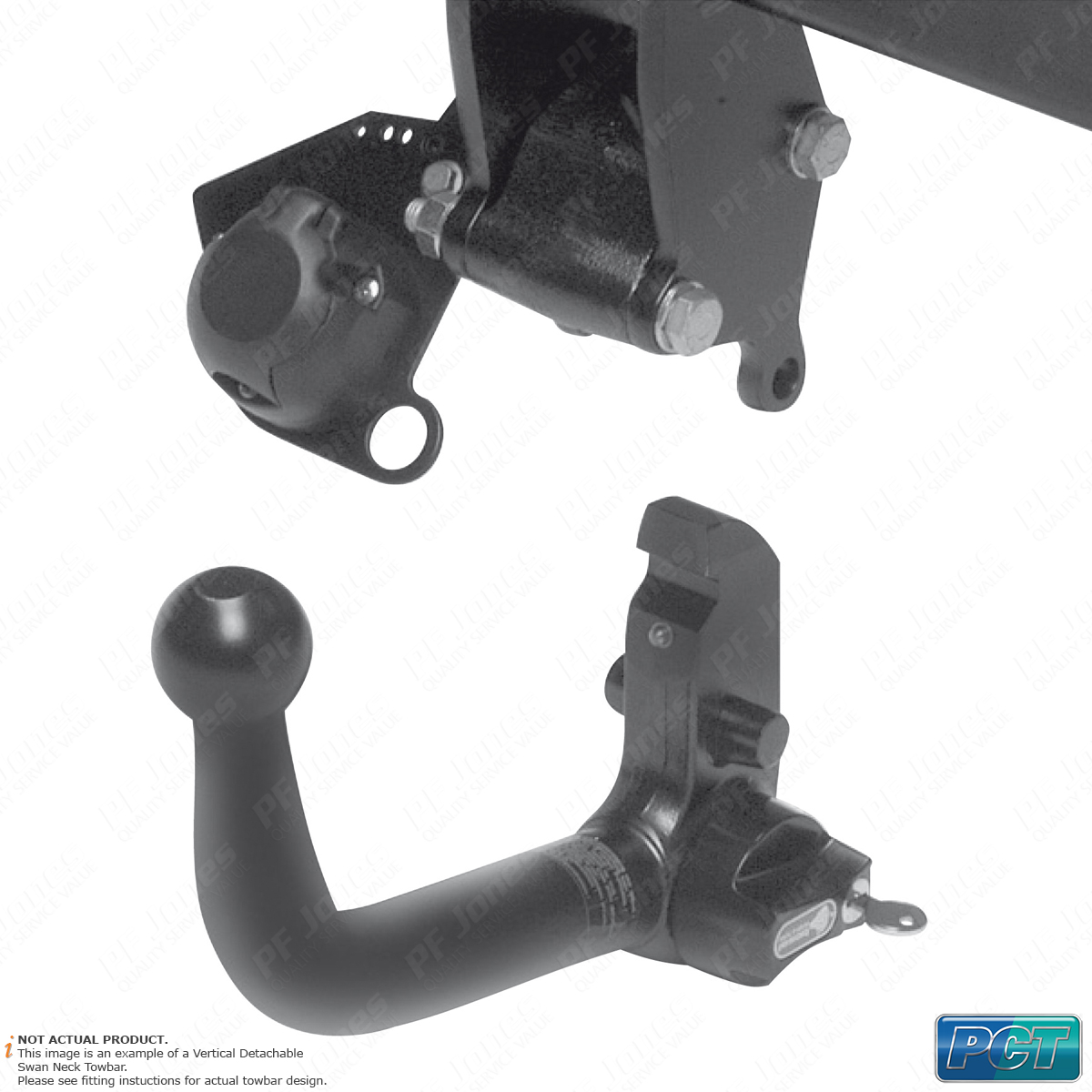 Detachable Swan Neck Tow Bar PCT Towbar for Ford S-Max MPV 2006-2015